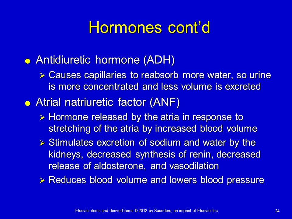 Hormones cont'd Antidiuretic hormone (ADH)