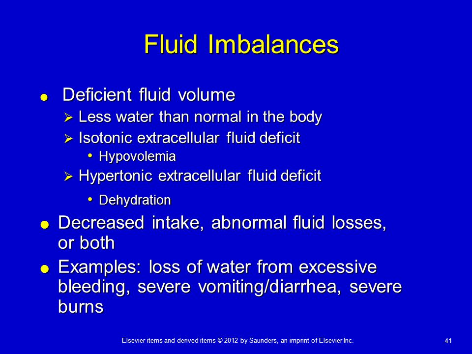 Fluid Imbalances Decreased intake, abnormal fluid losses, or both