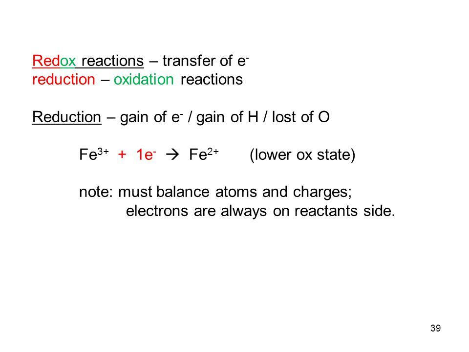 Redox reactions – transfer of e-