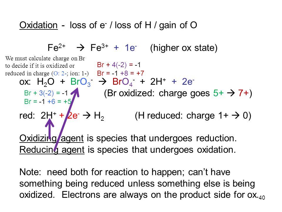 Oxidation - loss of e- / loss of H / gain of O
