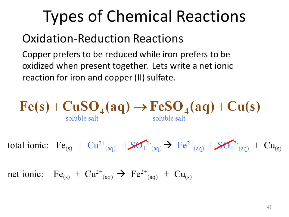 chemical reaction and copper sulfate The more common types of chemical reactions are if you put a piece of zinc metal into a copper(ii) sulfate are also a type of redox reaction redox chemical.