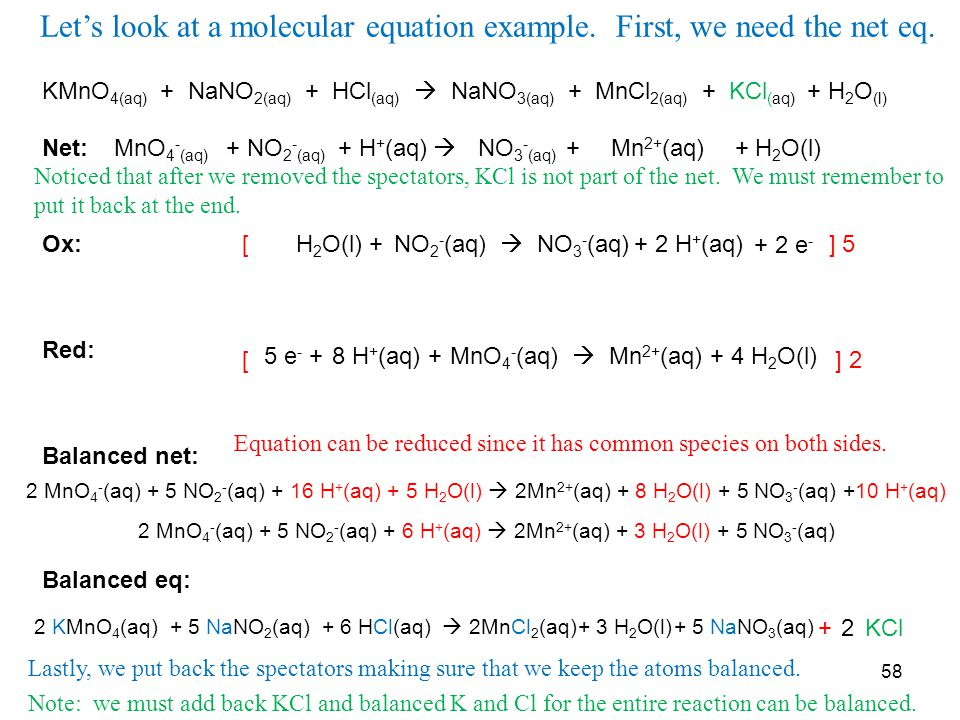 Let's look at a molecular equation example. First, we need the net eq.