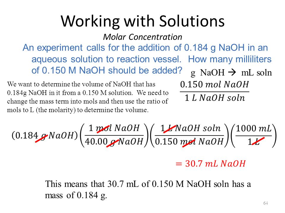 Working with Solutions Molar Concentration