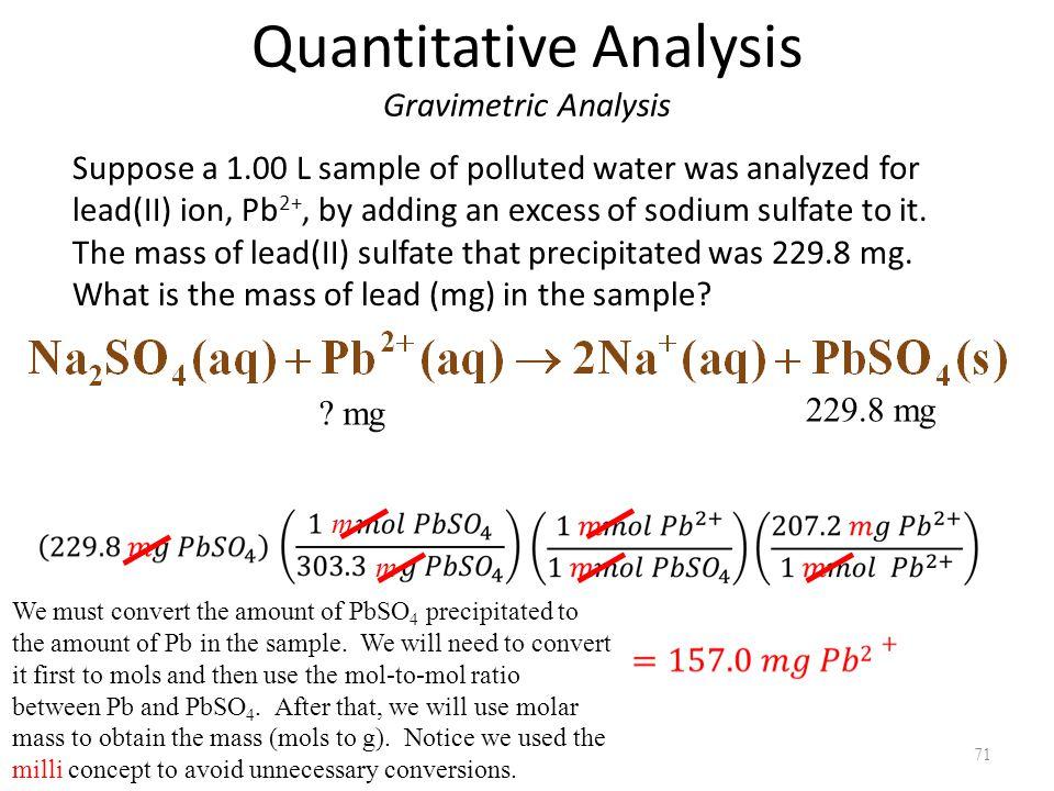 Quantitative Analysis Gravimetric Analysis