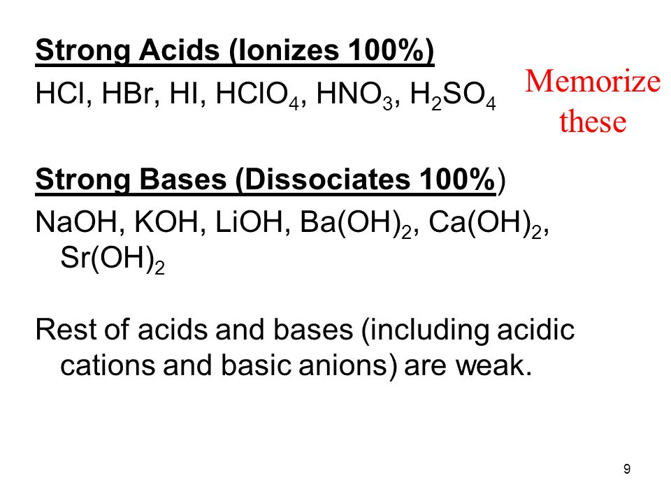 Memorize these Strong Acids (Ionizes 100%)