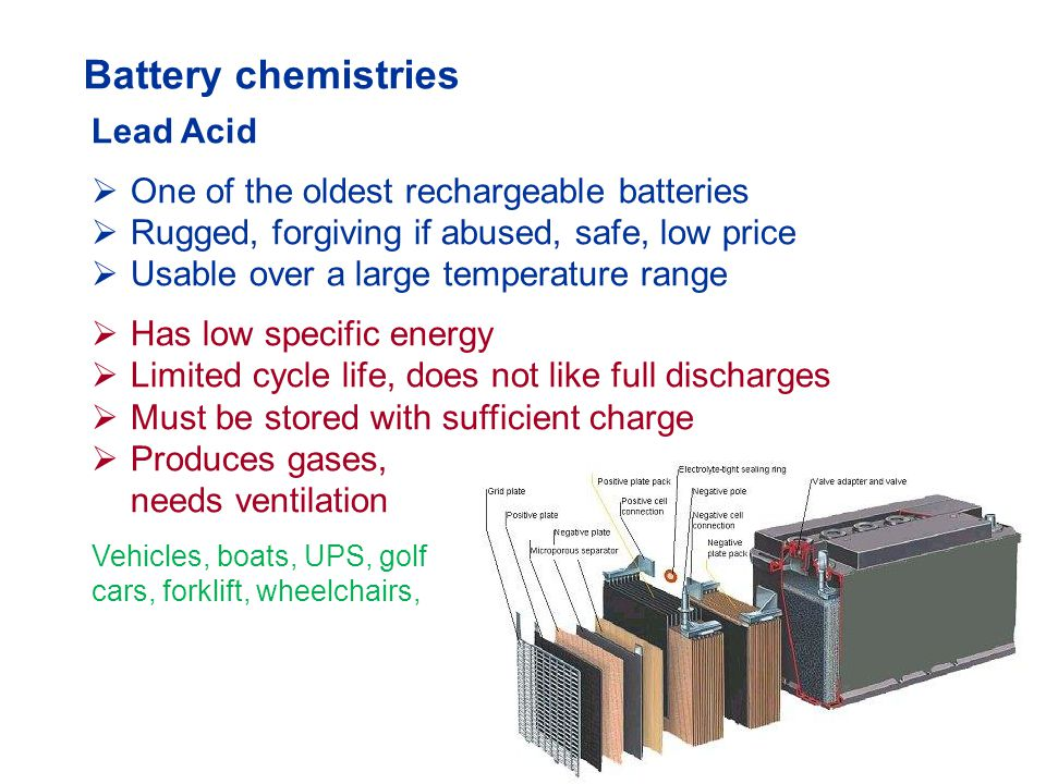 Battery chemistries Lead Acid One of the oldest rechargeable batteries
