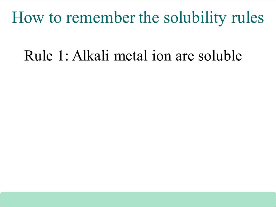 How to remember the solubility rules