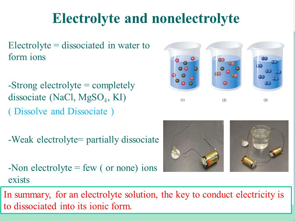 Electrolyte and nonelectrolyte
