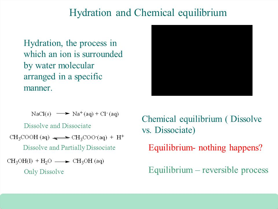 Hydration and Chemical equilibrium