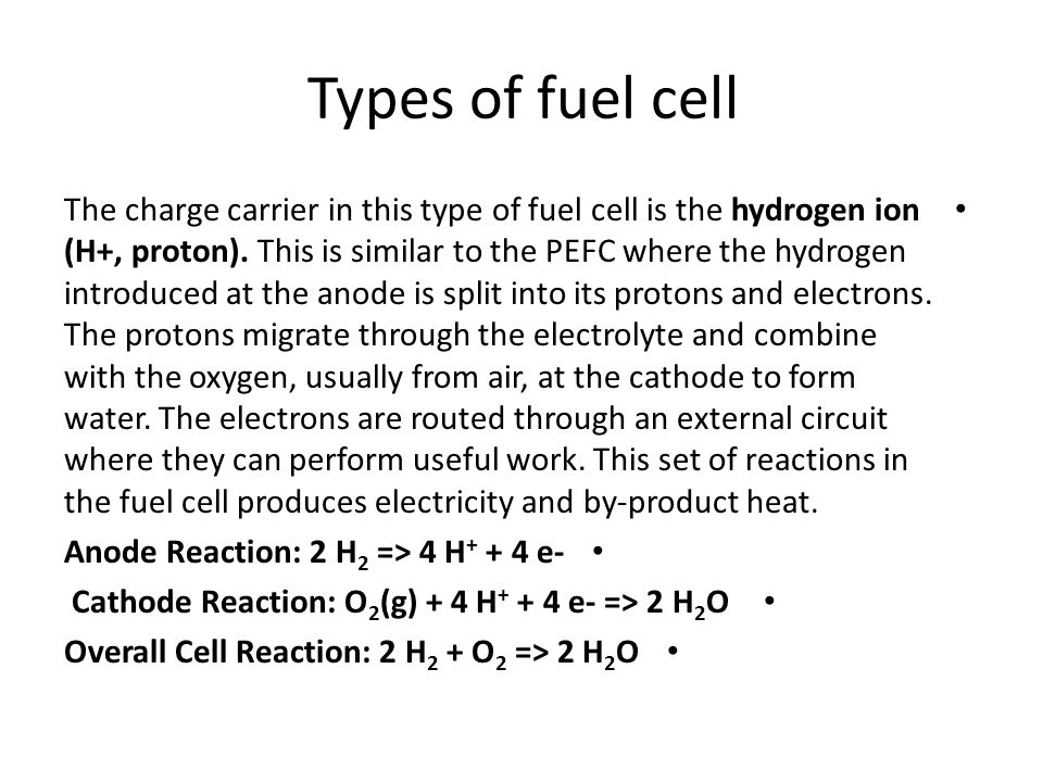 Types of fuel cell