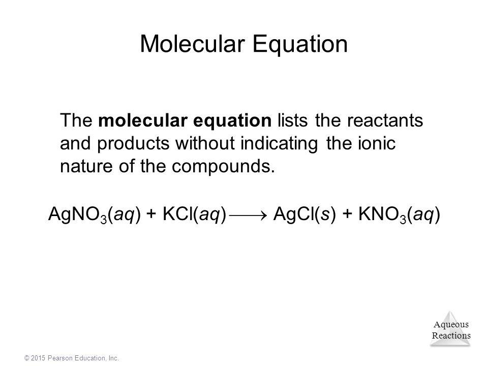 AgNO3(aq) + KCl(aq)  AgCl(s) + KNO3(aq)