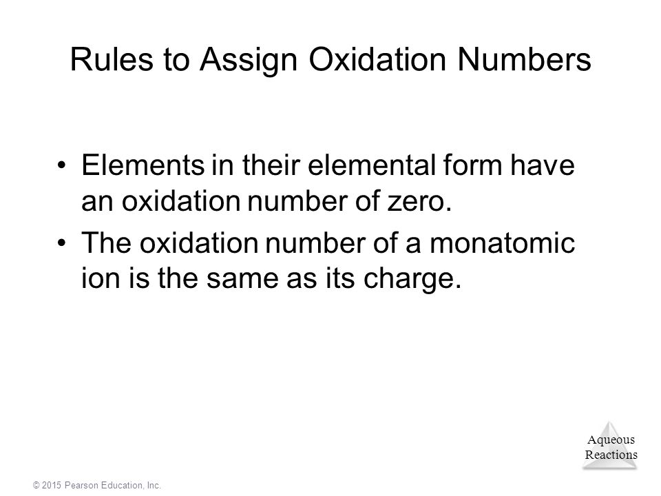 Rules to Assign Oxidation Numbers