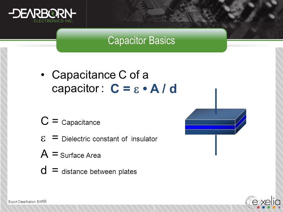 C = e • A / d Capacitance C of a capacitor : C = Capacitance