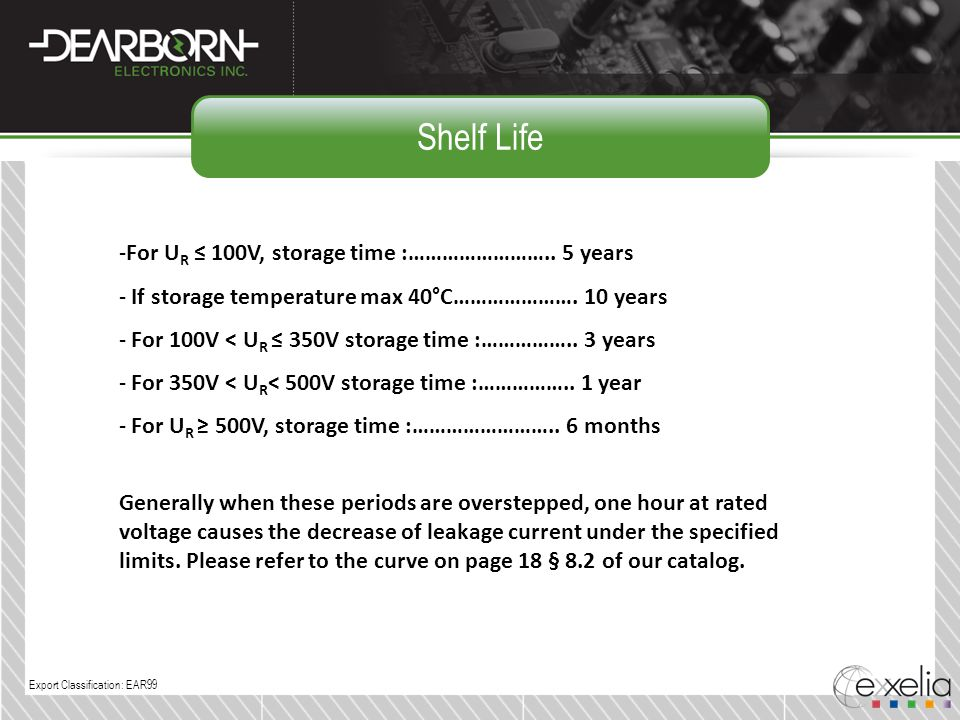 Shelf Life For UR ≤ 100V, storage time :…………………….. 5 years