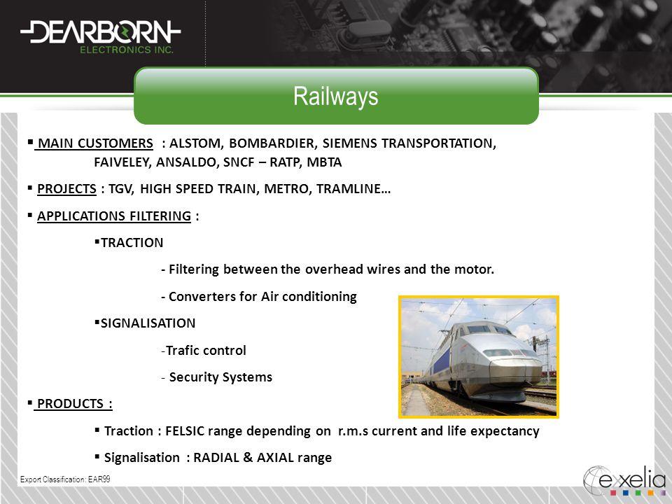 Railways MAIN CUSTOMERS : ALSTOM, BOMBARDIER, SIEMENS TRANSPORTATION, FAIVELEY, ANSALDO, SNCF – RATP, MBTA.