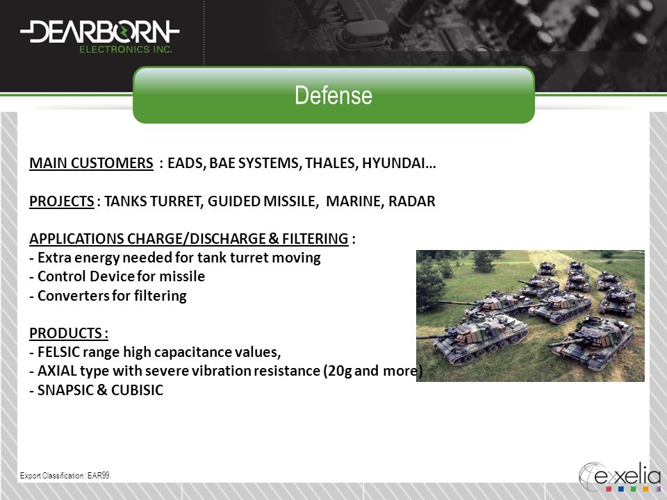 Defense MAIN CUSTOMERS : EADS, BAE SYSTEMS, THALES, HYUNDAI…