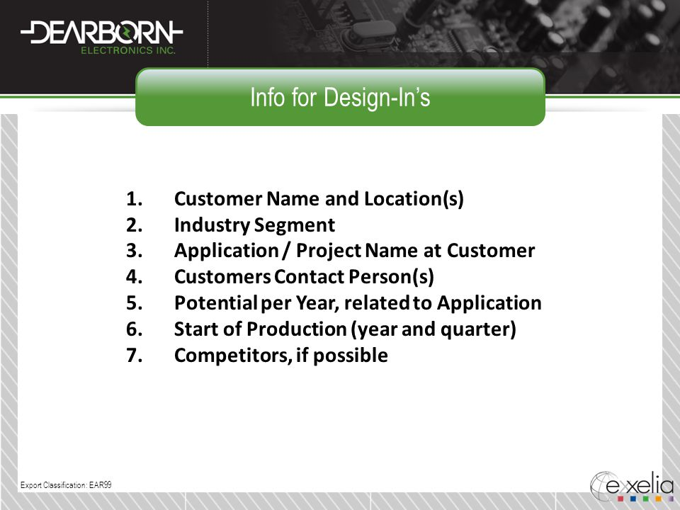 Info for Design-In's Customer Name and Location(s) Industry Segment