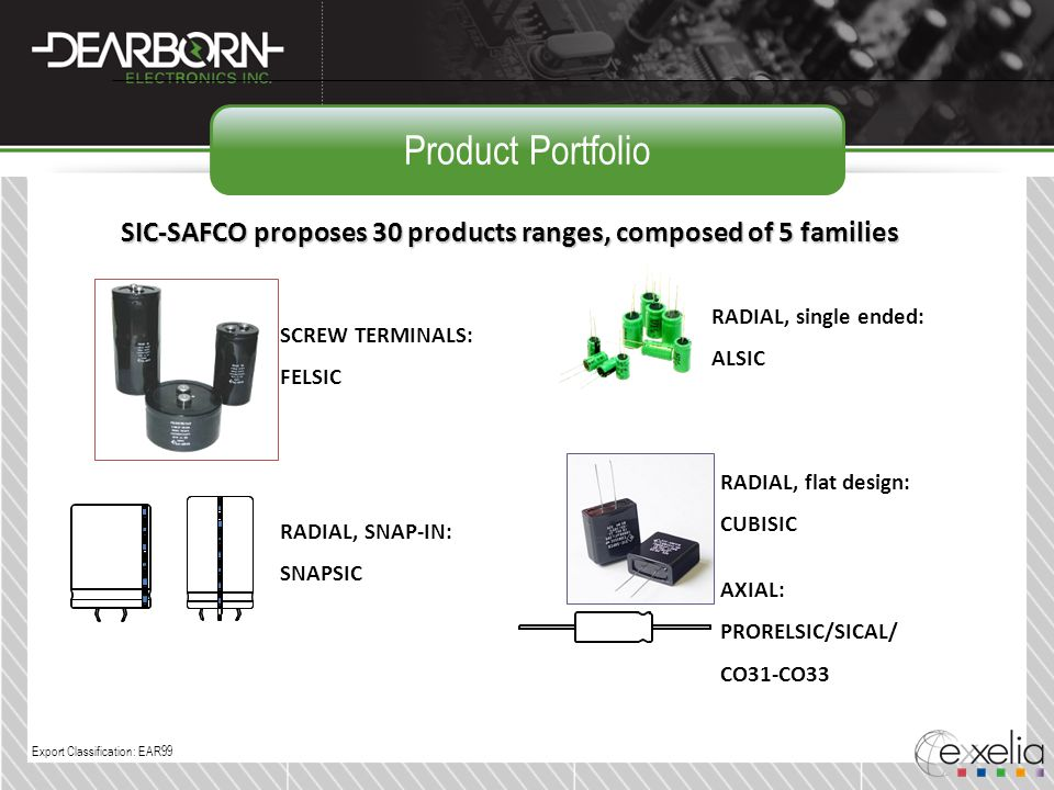 Product Portfolio SIC-SAFCO proposes 30 products ranges, composed of 5 families. RADIAL, single ended: