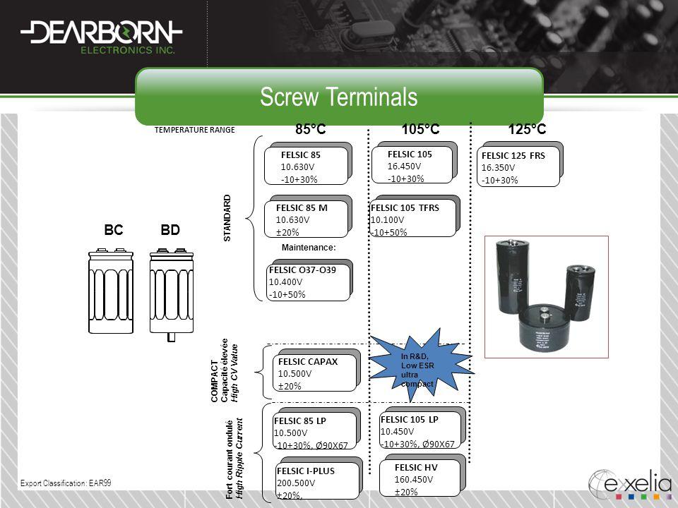 Screw Terminals 85°C 105°C 125°C BC BD