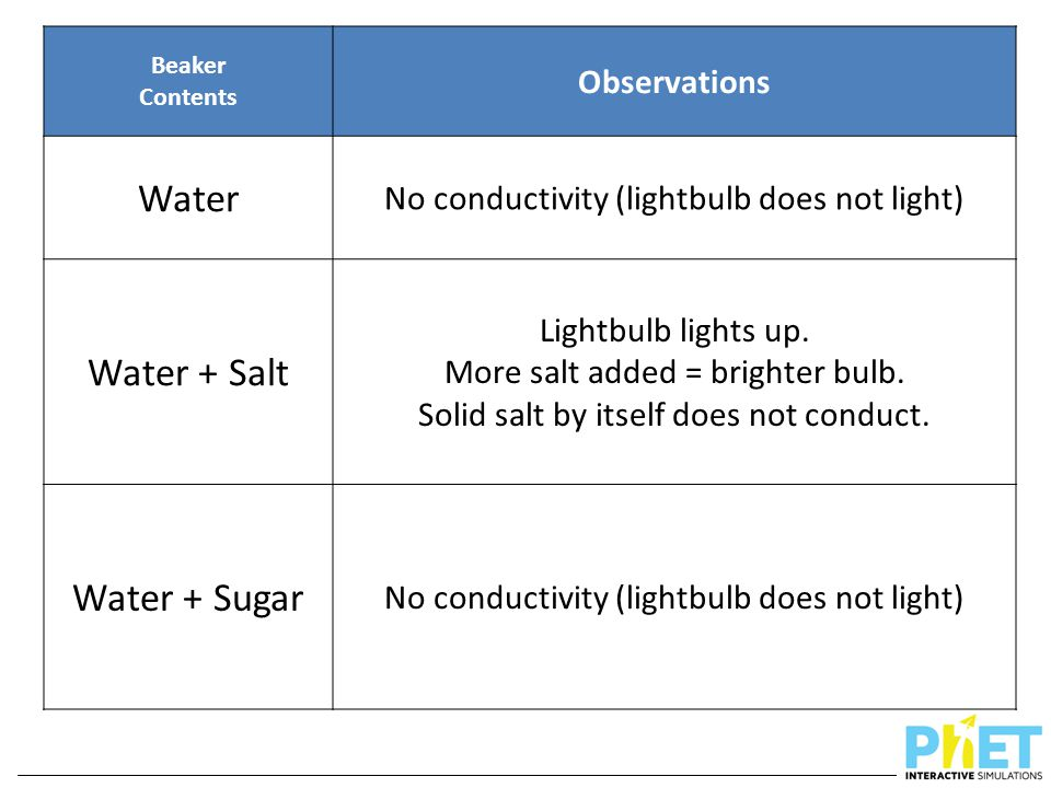 Water Water + Salt Water + Sugar Observations