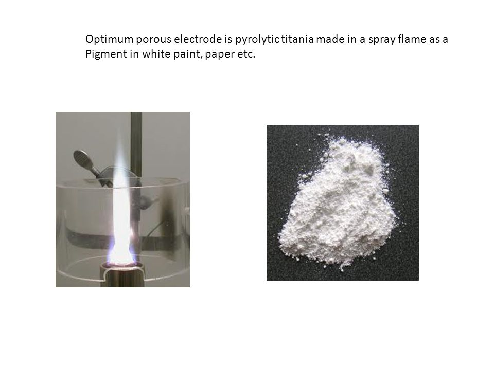 Optimum porous electrode is pyrolytic titania made in a spray flame as a