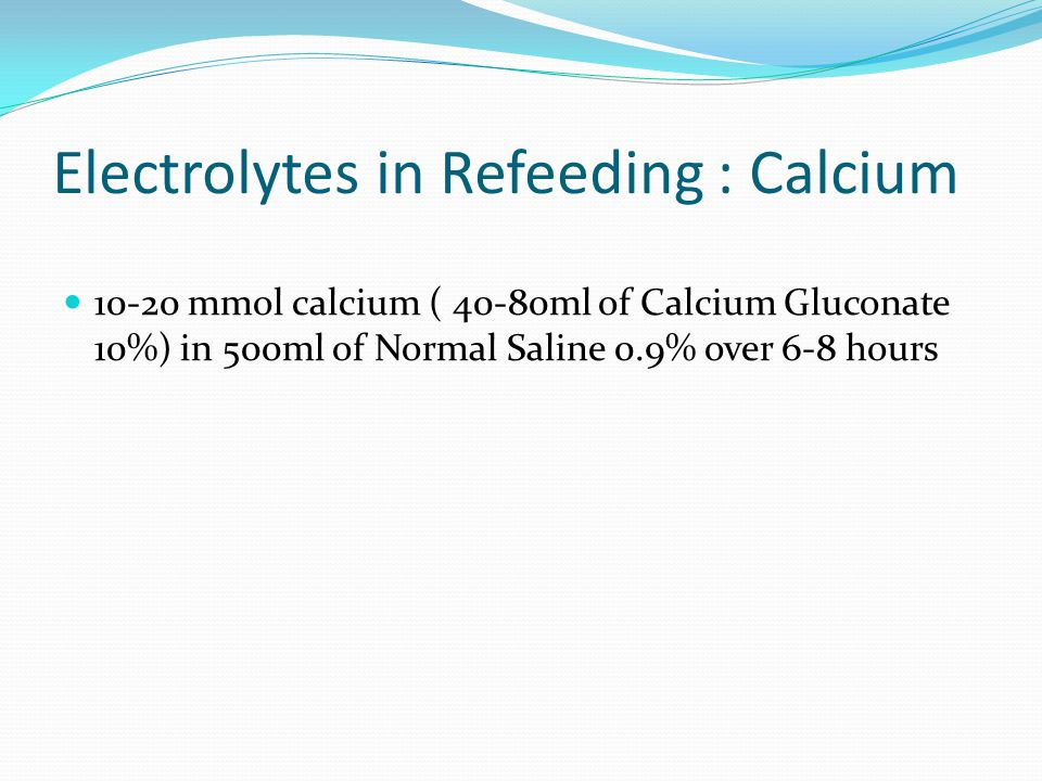Electrolytes in Refeeding : Calcium