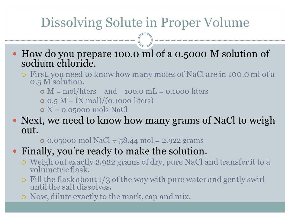 Dissolving Solute in Proper Volume