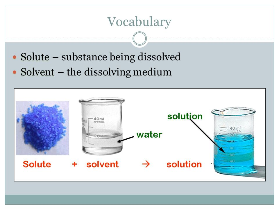 Vocabulary Solute – substance being dissolved
