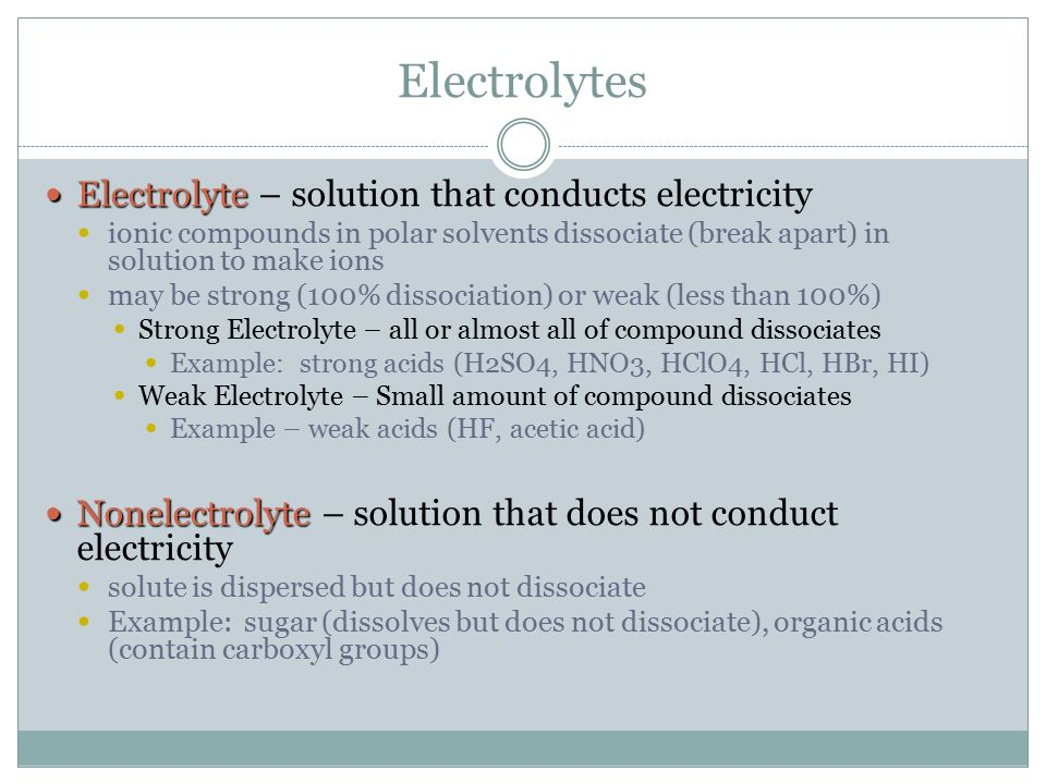 Electrolytes Electrolyte – solution that conducts electricity