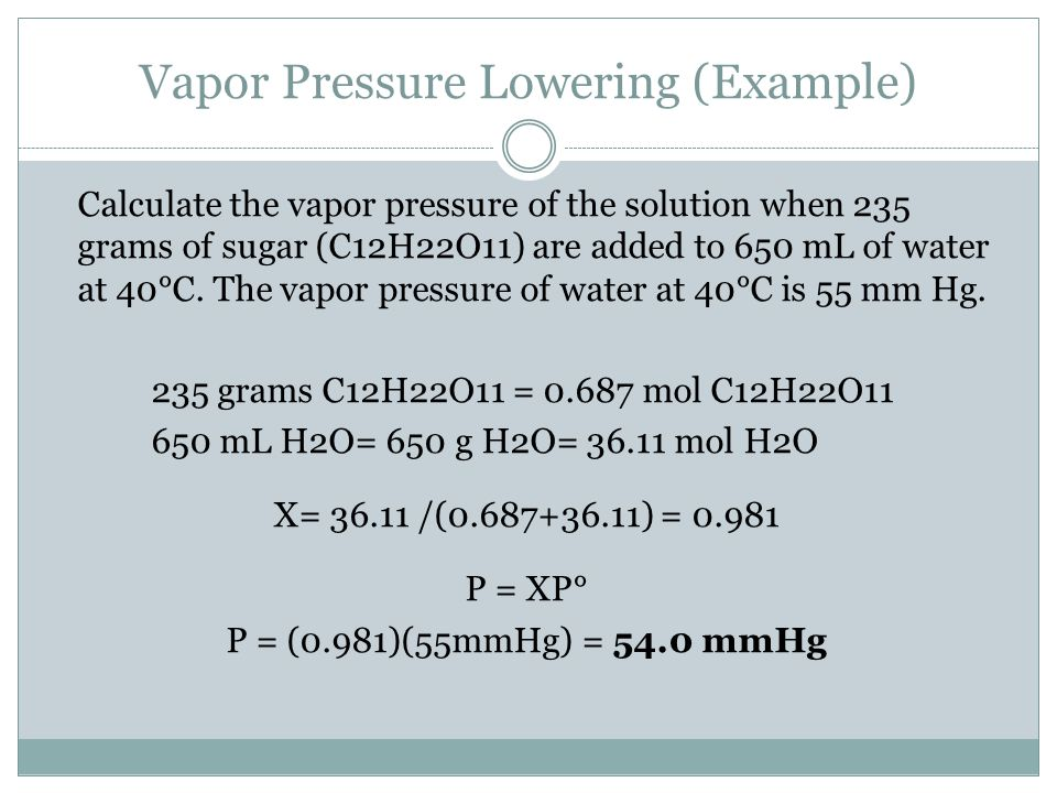 Vapor Pressure Lowering (Example)