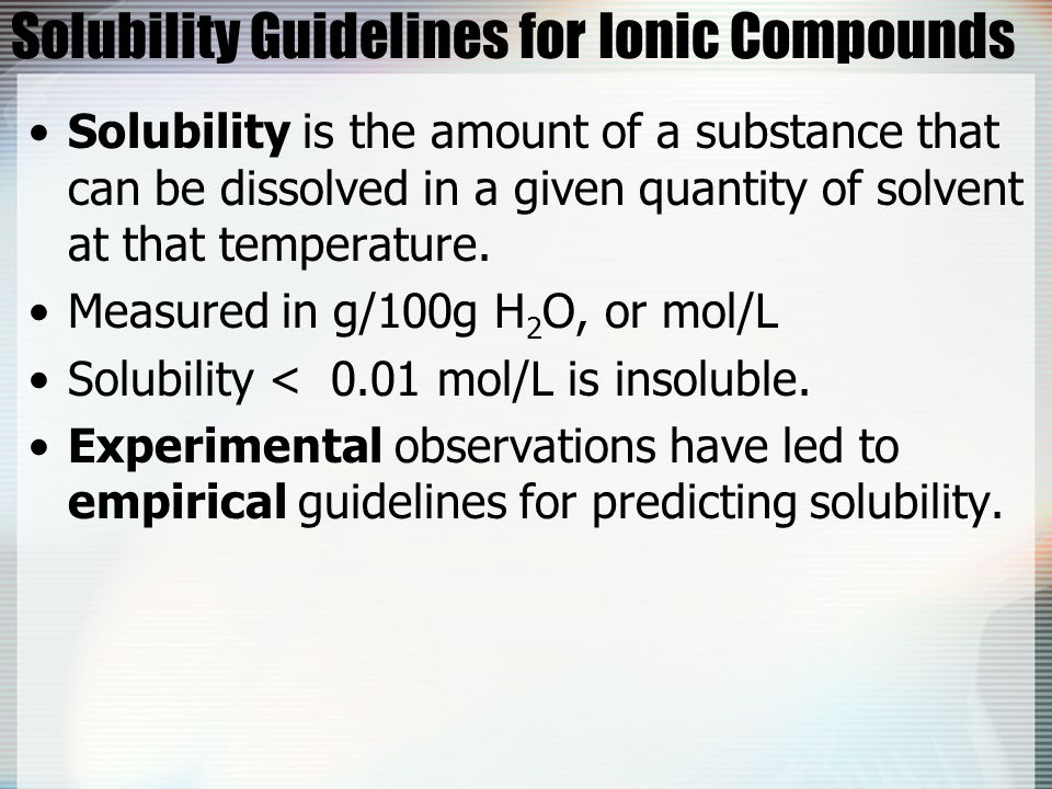 Solubility Guidelines for Ionic Compounds