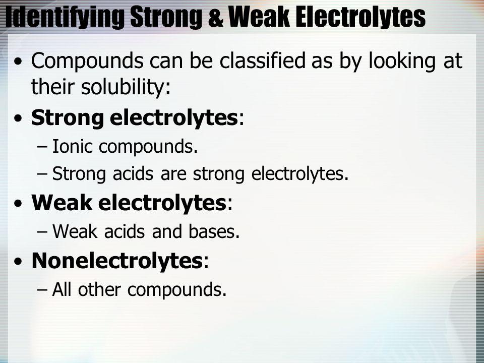 Identifying Strong & Weak Electrolytes