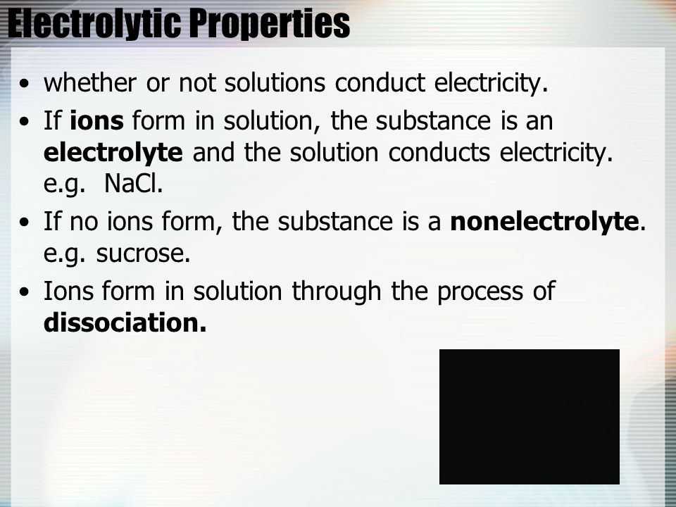 Electrolytic Properties