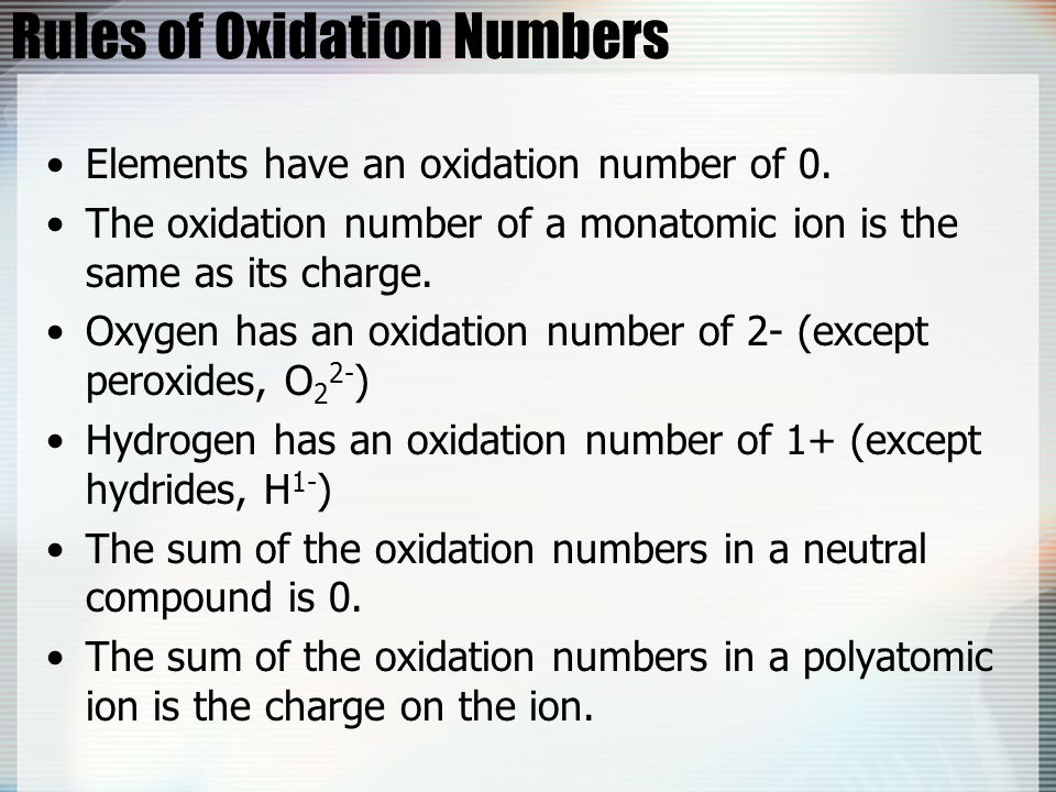 Rules of Oxidation Numbers