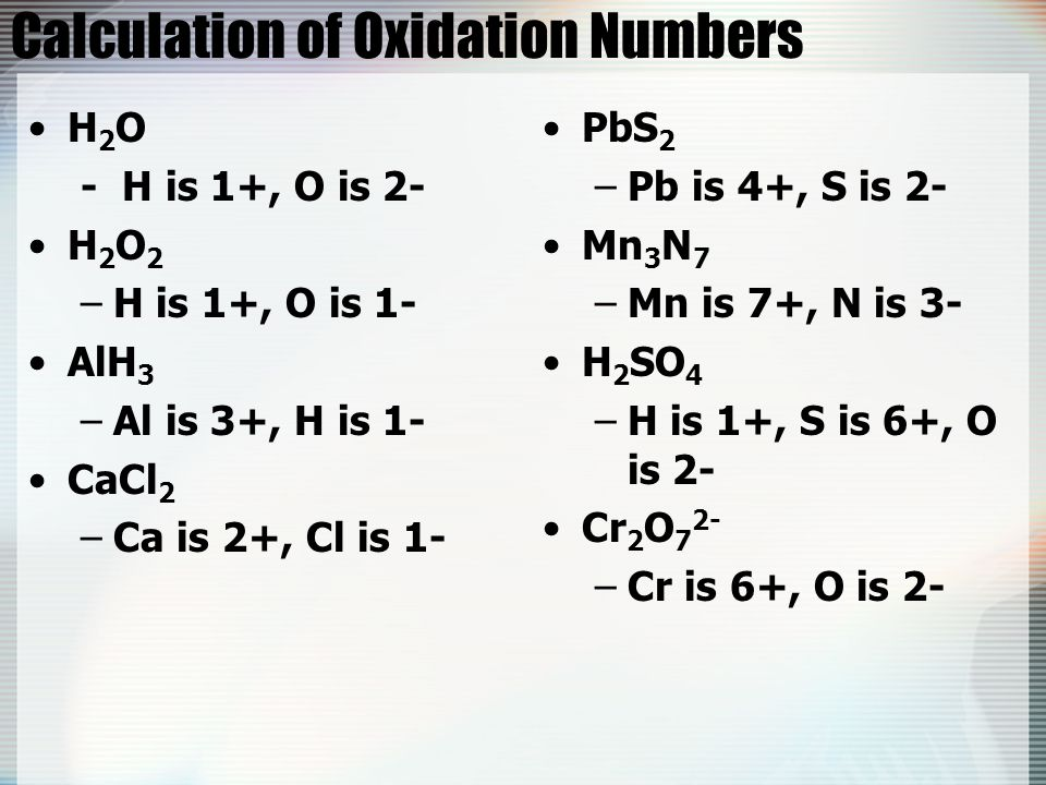 Calculation of Oxidation Numbers
