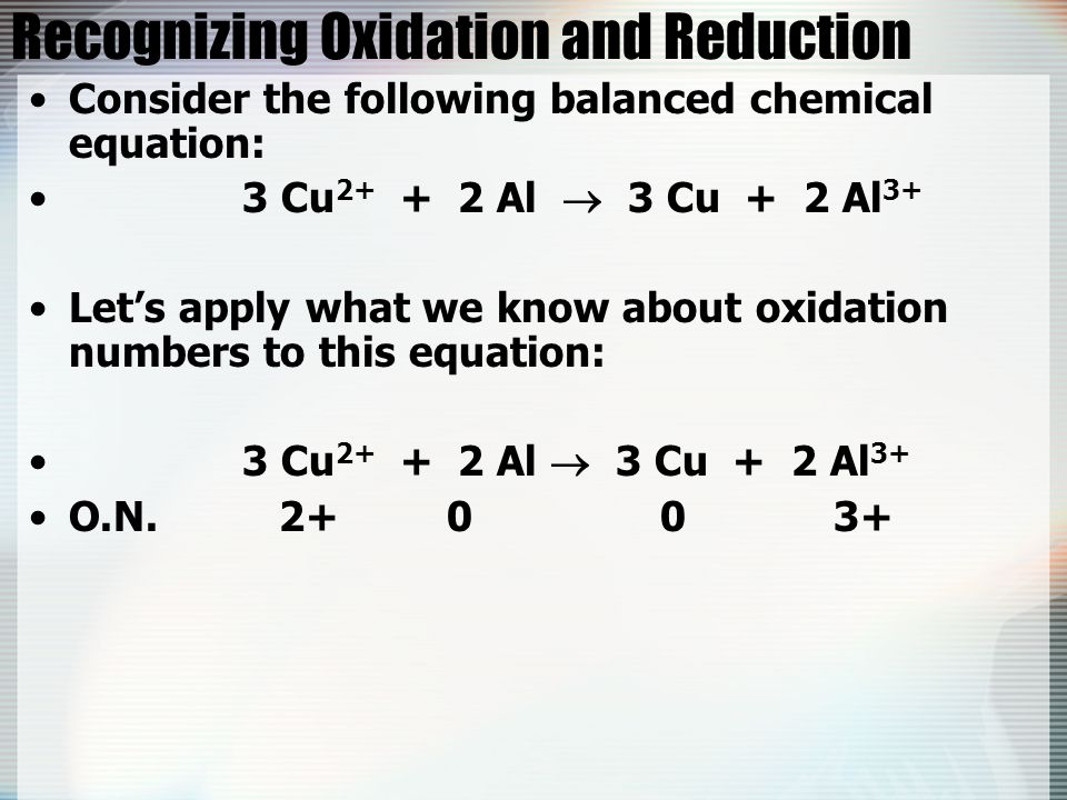 Recognizing Oxidation and Reduction