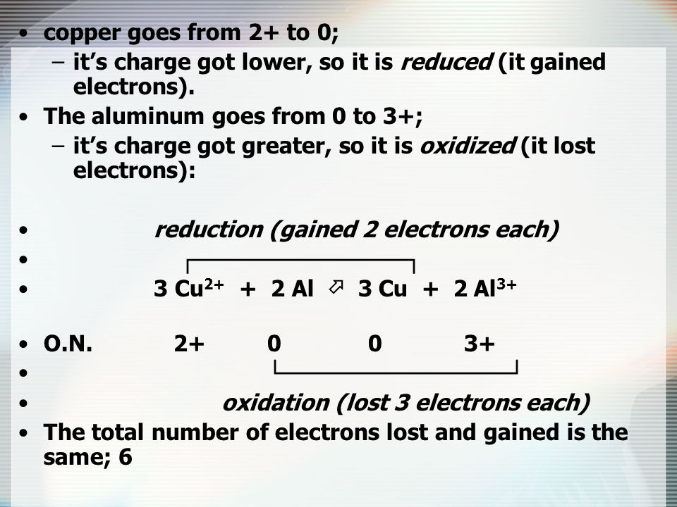 copper goes from 2+ to 0; it's charge got lower, so it is reduced (it gained electrons). The aluminum goes from 0 to 3+;