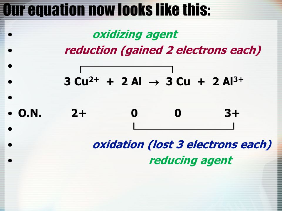 Our equation now looks like this:
