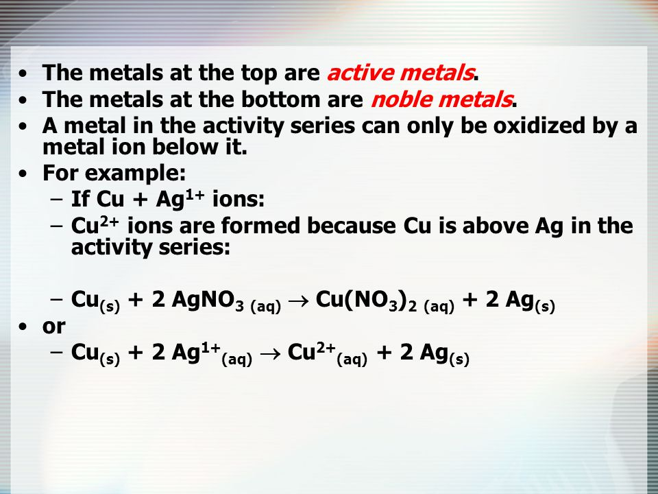The metals at the top are active metals.