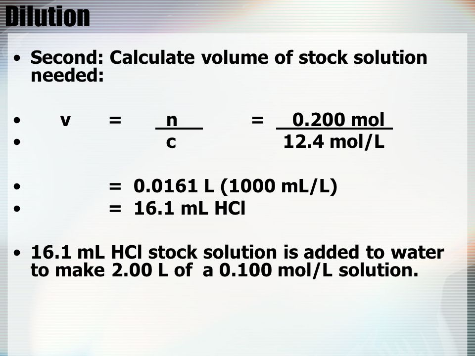 Dilution Second: Calculate volume of stock solution needed: