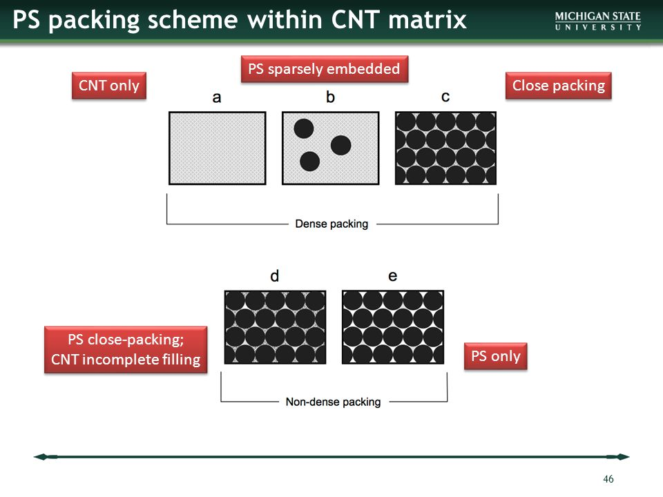 PS packing scheme within CNT matrix