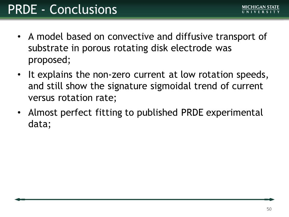 PRDE - Conclusions A model based on convective and diffusive transport of substrate in porous rotating disk electrode was proposed;