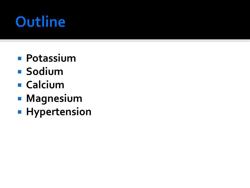 Outline Potassium Sodium Calcium Magnesium Hypertension