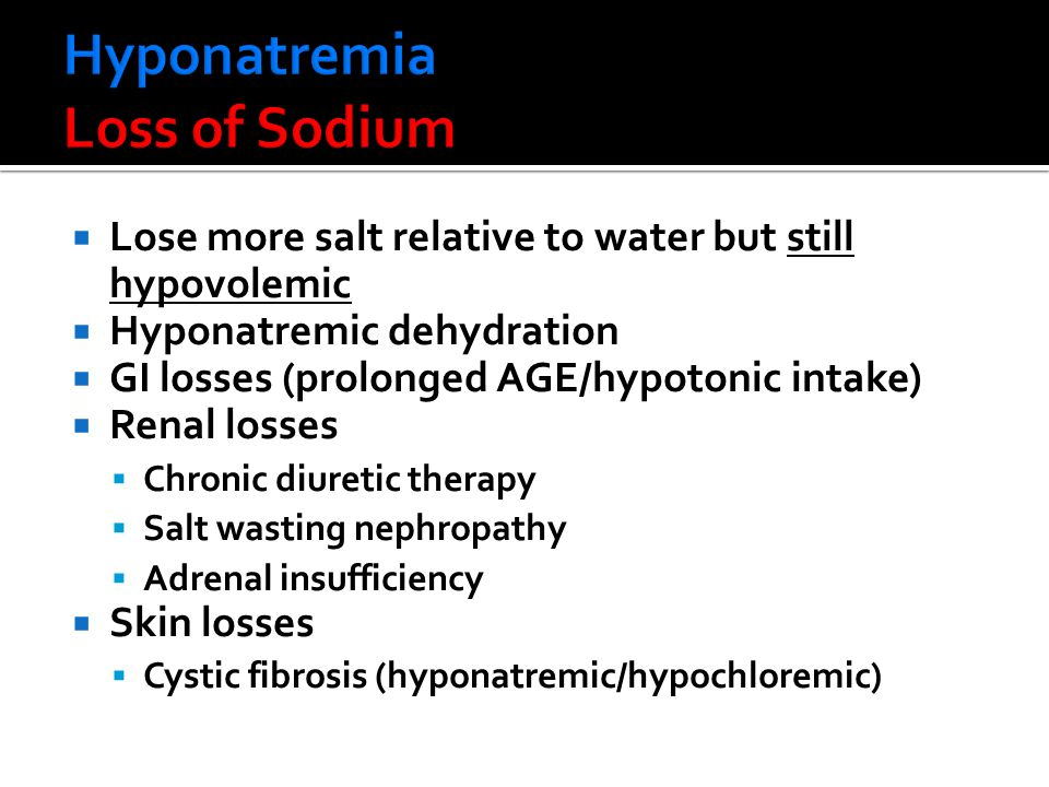 Hyponatremia Loss of Sodium