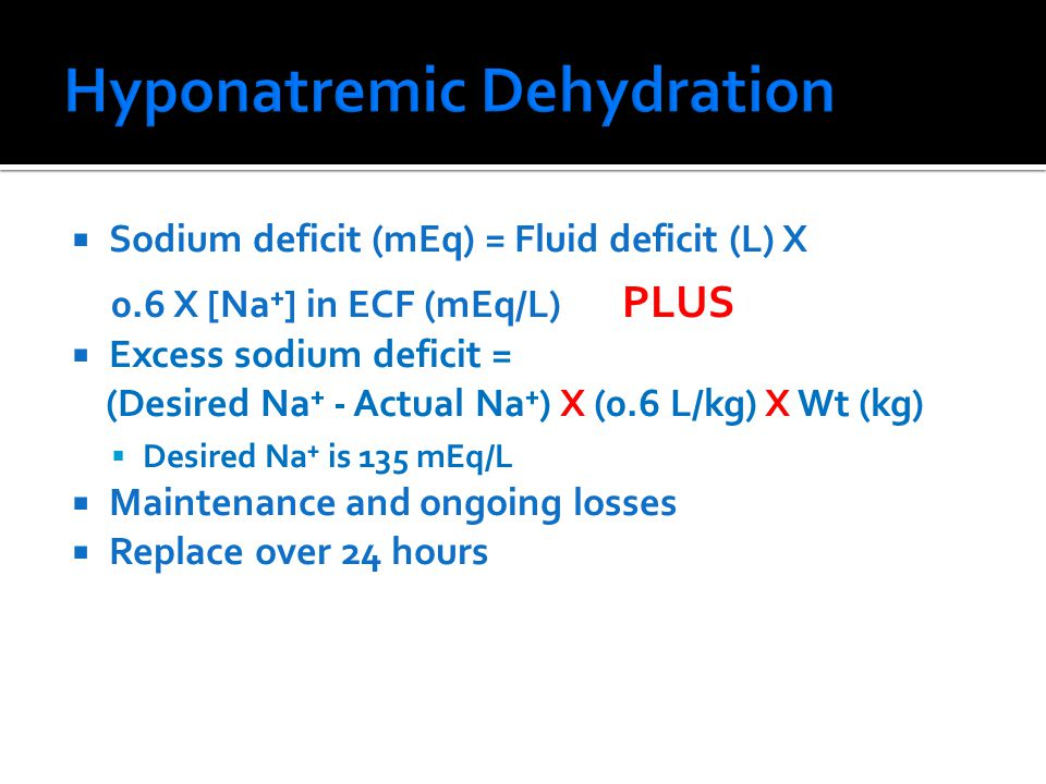 Hyponatremic Dehydration