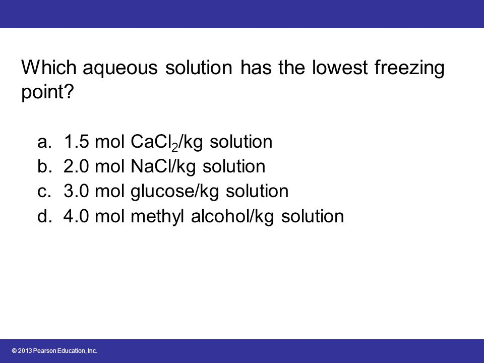 Which aqueous solution has the lowest freezing point