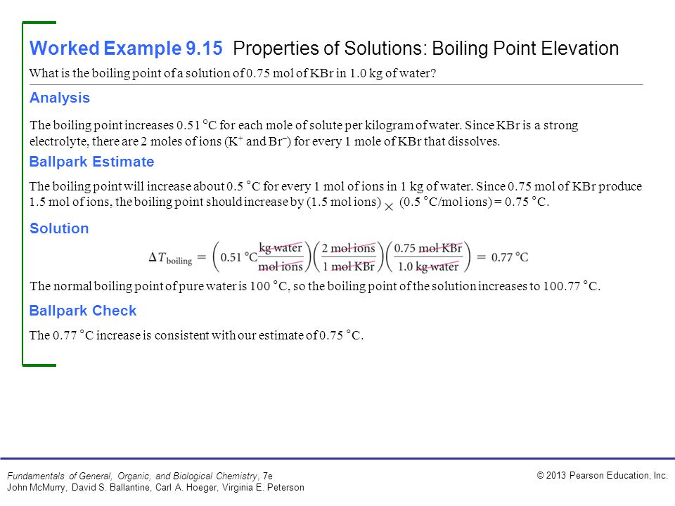 Worked Example 9.15 Properties of Solutions: Boiling Point Elevation