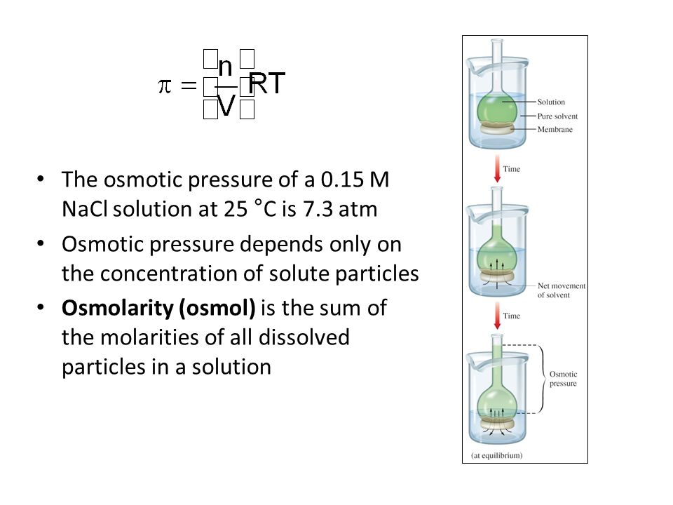 The osmotic pressure of a 0.15 M NaCl solution at 25 °C is 7.3 atm