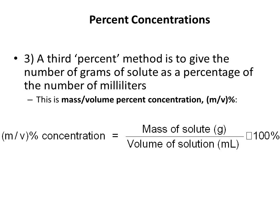 Percent Concentrations