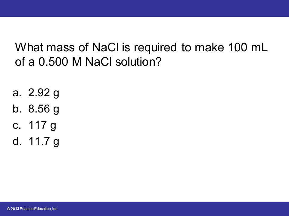 What mass of NaCl is required to make 100 mL of a 0